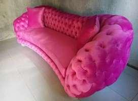 Sofa chesrer tapak lebar+frame bungkus
