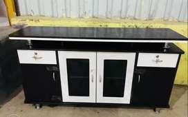 tv base with glass door