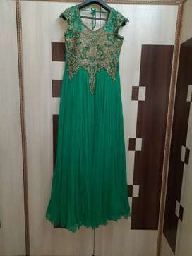 Evening gown of soft net with diamond work