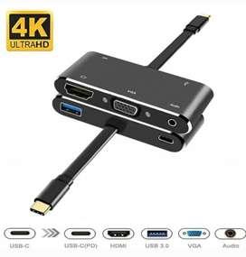 5 IN 1 USB C to HDMI 4K +VGA+PD+ AUDIO+USB 3.0 5Gb/s Converter V126