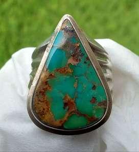 Natural Pirus Persia Hijau Tetes Air Big Size Ring Perak 925 HD Tebal