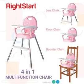 Rightstart 4 in 1 Baby High Chair (Kursi Makan Bayi) Warna Pink
