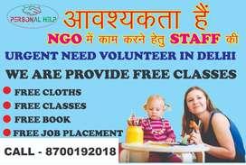 We are looking for volunteers  Ngo Volunteers Job in Delhi Ncr Call me