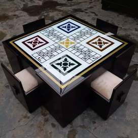 stylish ludo table with four stools