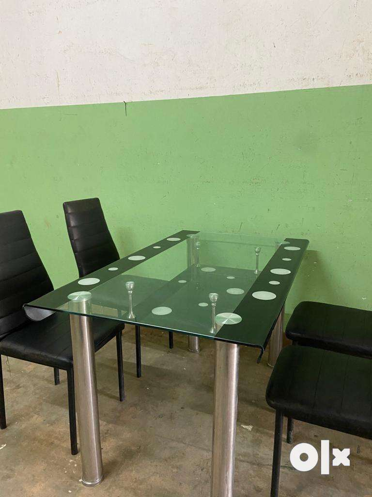 Glass Dining & 4 Leather Chairs