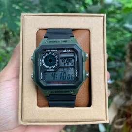 Jam Tangan Original Digital AE 1200 Alfa waterproff