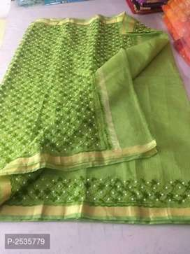 Embroidered cotton sarees with blouse piece