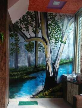 Realistic natural wallpainting