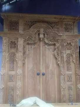 pintu gebyok ukir jati grabing