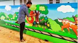 Draw cartoons on walls and beautiful drawings