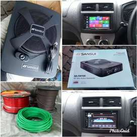 paket Sansui head unit non CD + subwoofer kolong jok