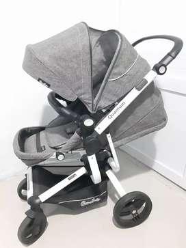 kereta bayi murah /stroller quantum warna gray