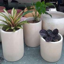 Pot Taman Unik Minimalis Bulat Handmade Terazzo