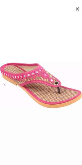 Jute rubber embroidery slippers
