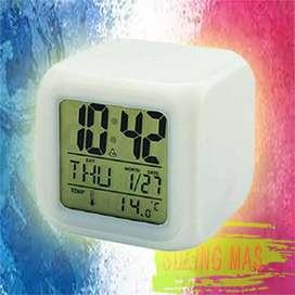 Jam Dadu / Jam Moody 7 Warna Plus Alarm Dan Termometer