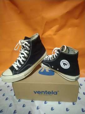 Sepatu VENTELA 70's HIGH BLACK WHITE NATURAL AND NAVY GLOSYY