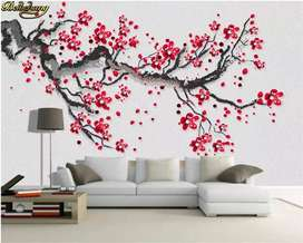 3D wallpapers 2020 designs with glass paper, roller blinds fitting srv