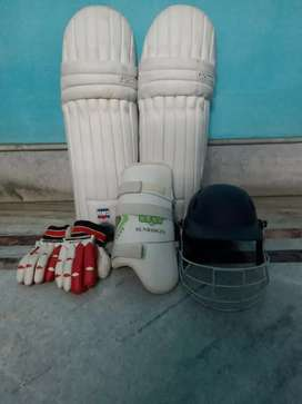 Cricket pads, helmets,gloves $ thigh pad