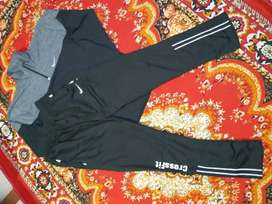 Gym equipments and sports wear. Track suits , lowers etc