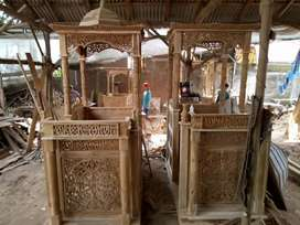 Mimbar masjid kayu jati kubah