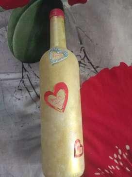 Valentines day bottle art