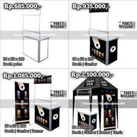 booth gerobak portable lipat meja untuk jualan jajanan makanan