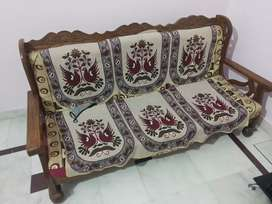 Wooden sofa and table