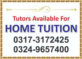 Tutors available for home tuition