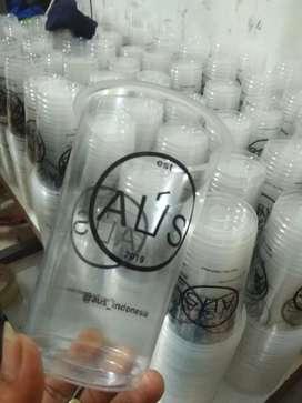 Gelas plastik cup berikut sablon logonya berbagai ukuran