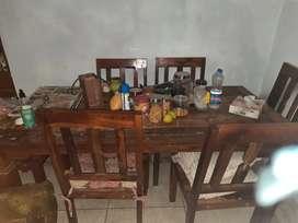 Hard sheesham wood 6 seater dining table