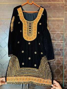 Black velvet suit