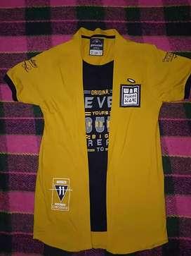 Half sleeve black&yellow tshirt