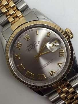 Rolex Men 18KSS datejust Grey Romawi