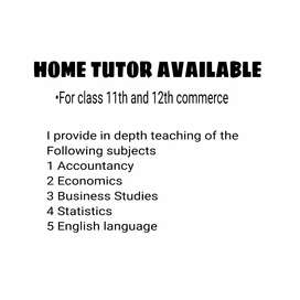 Home tutor for 11th& 12th commerce Students (CBSE)
