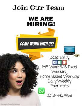 Data Entry Home Based Working For Females/House Wife /Students