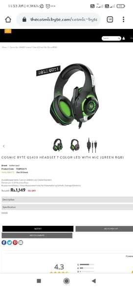 Cosmic Byte GS420 7RGB Lightning Headphones + Audio Splitters Wire