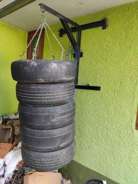 Boxing bag heavy bag made with tyres. Pretty solid and raw.