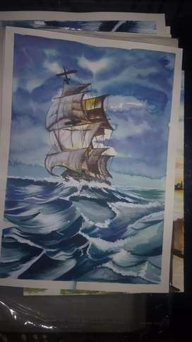 Ship water colour work
