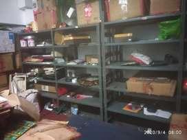 Iron rack with 5 shelves & two nos teak maharaja chair