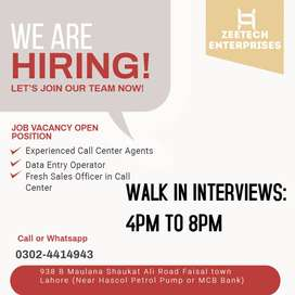 Fresh & Experienced Call Center Agents