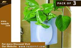 PACK OF 3 Wall Hanging Silicone Flower Pot Sticker Plant Rack for Deco