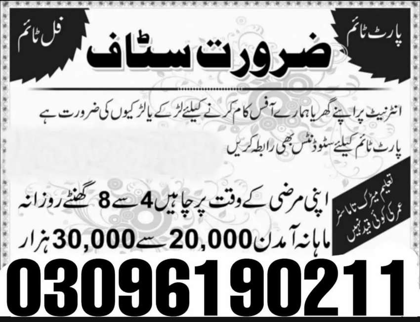 Job Available For Student/Experience Person