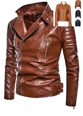 CAFE RACER DISTRESSED BROWN LEATHER MOTORCYCLE JACKET