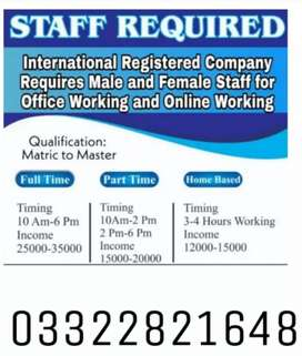 Male female online full time part time jobs