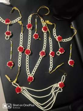 Floral Jewellery set fr bride Haldi jewellery or baby shower jewellery