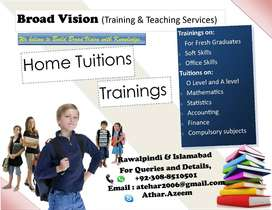 Online Tutor O, A levels and 5 to 10th class