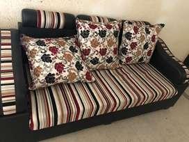 Maroon and White sofa