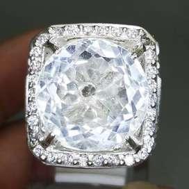 Cincin Batu Natural Kecubung Air Es Putih Kristal Ring Perak