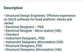 Urgent requirement  Designer for PDS & MicroStation software