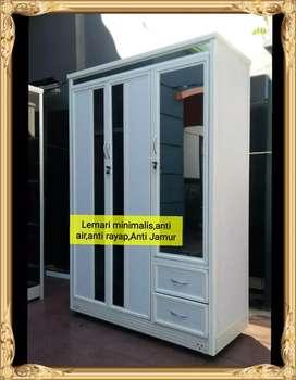 Lemari baju aluminium kaca modern,Kokoh + Gratis  Ongkir